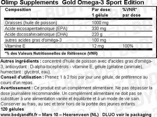 Gold Omega-3 Sport edition Nutritional Information 1