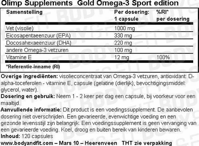 Gold Omega-3 Sport edition Nutritional Information 1