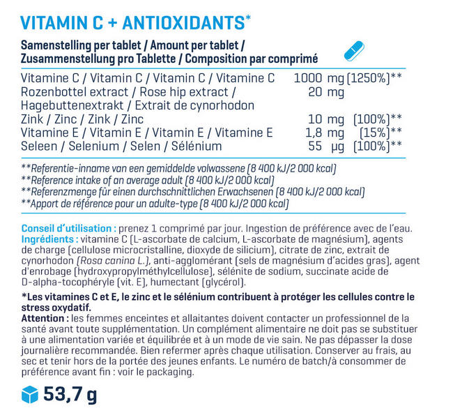 VitaminC + Antioxydants Nutritional Information 1