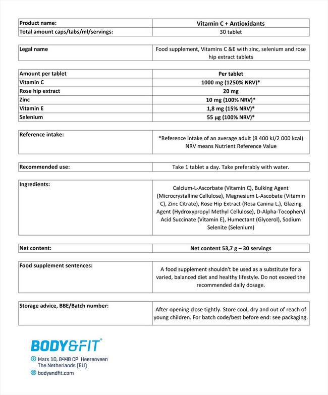 비타민 C + 항산화 Nutritional Information 1
