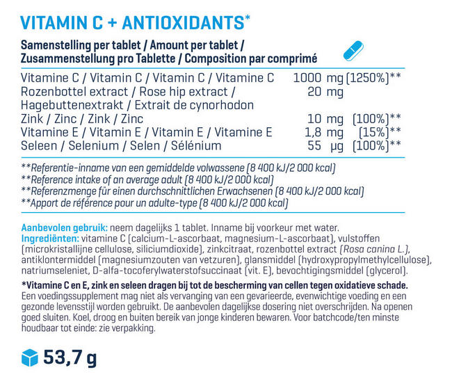 Vitamin C + Antioxidant Nutritional Information 1