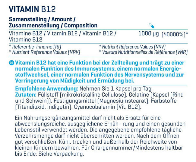 Vitamine B12 Nutritional Information 2