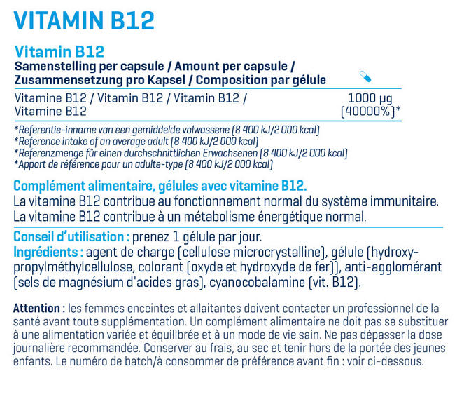 Vitamine B12 Nutritional Information 1