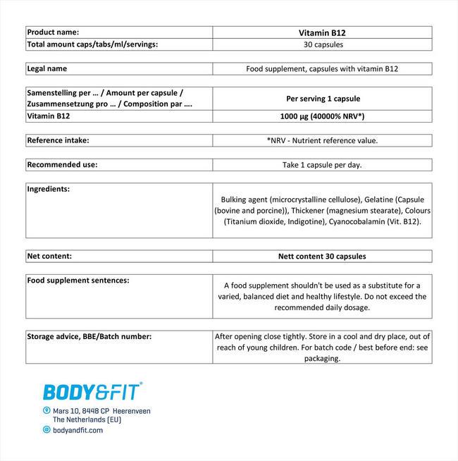 비타민 B12 (Vitamin B12) Nutritional Information 1