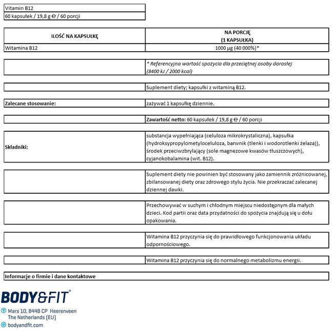 Witamina B12 Nutritional Information 1