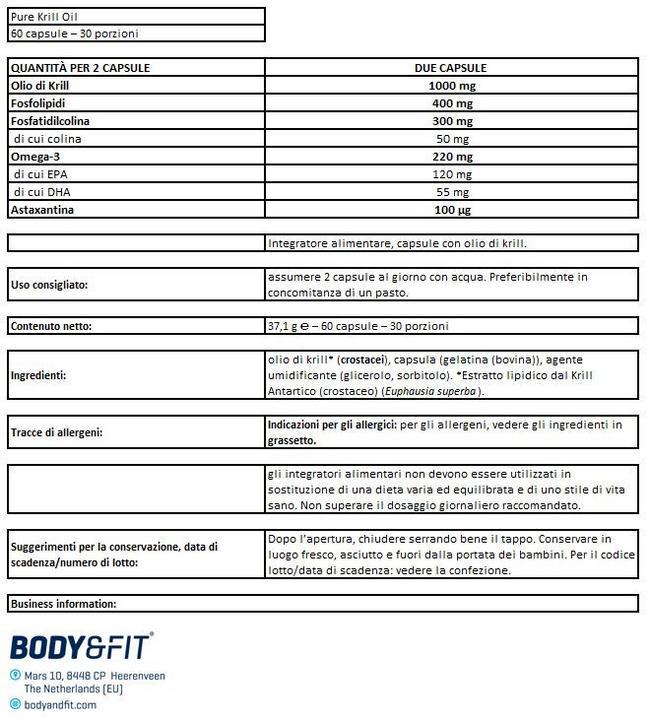 Olio di Krill Pure Nutritional Information 1