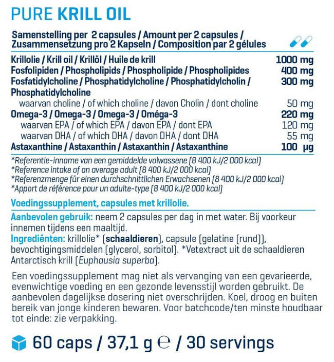 Pure Krill Oil Nutritional Information 1