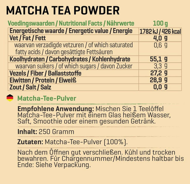 Matcha Tee Pulver Nutritional Information 1