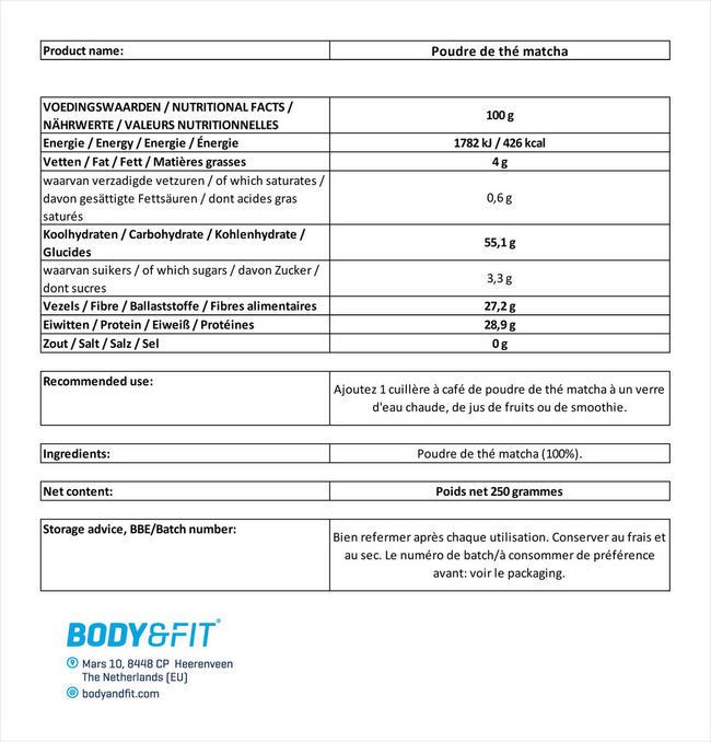 Poudre de thé matcha Nutritional Information 1