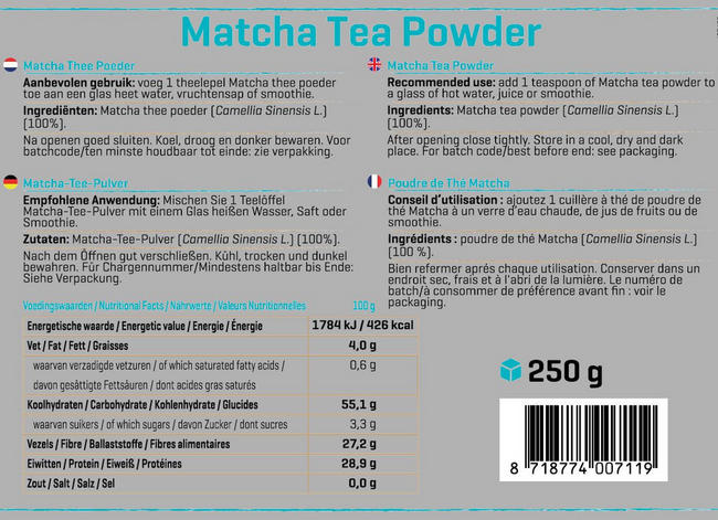 Matcha Thee poeder Nutritional Information 1