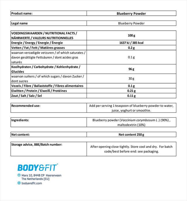 Pure Blaubeerpulver Nutritional Information 3