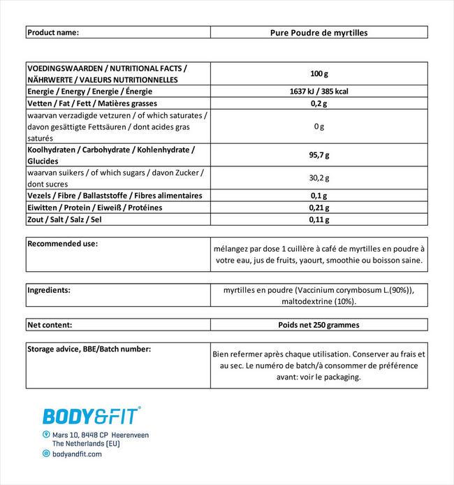 Pure Blaubeerpulver Nutritional Information 4