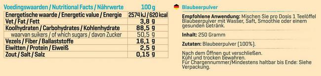 Pure Blaubeerpulver Nutritional Information 1