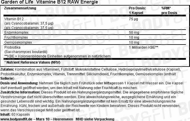 Vitamine B12 RAW Energie Nutritional Information 1