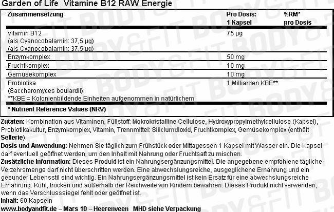 Vitamine B12 RAW Energie Nutritional Information 1