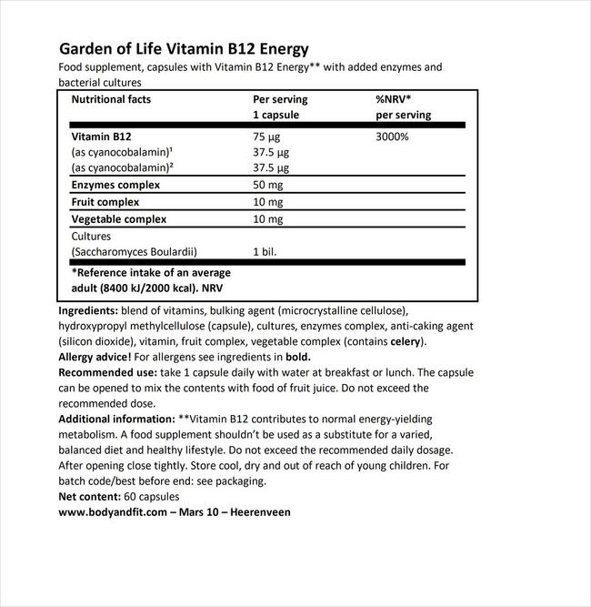 Vitamin B12 RAW Energy Nutritional Information 1