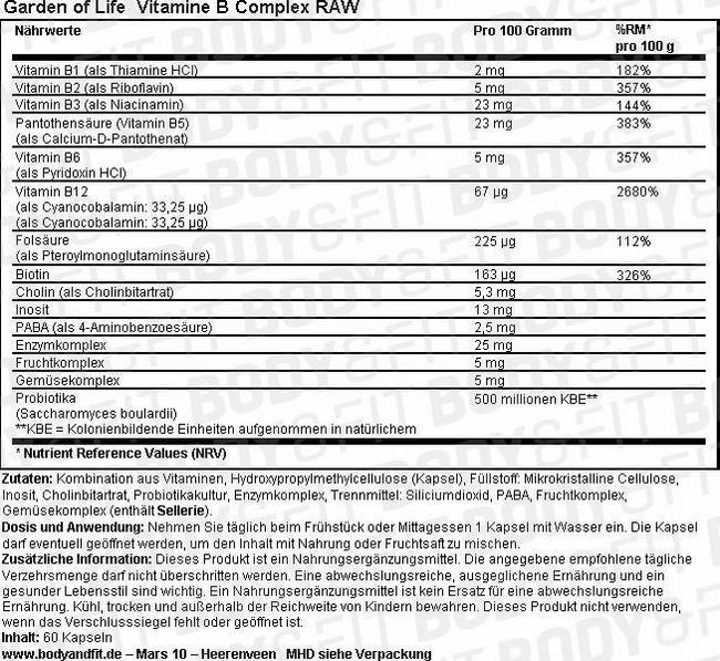 Vitamine B Complex RAW Nutritional Information 1