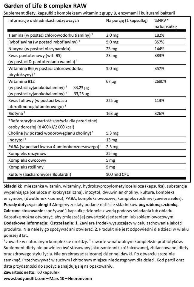 Kompleks witamin B RAW Nutritional Information 1