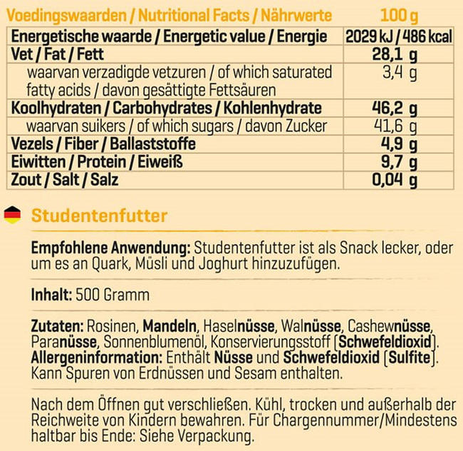 Pure Studentenfutter Nutritional Information 1