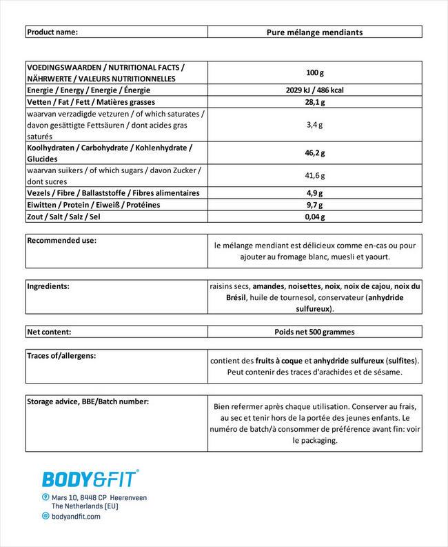 Pure mélange mendiants Nutritional Information 1