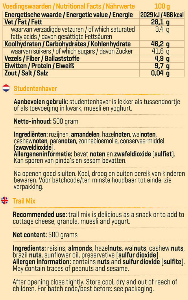 Pure Studentenhaver Nutritional Information 1