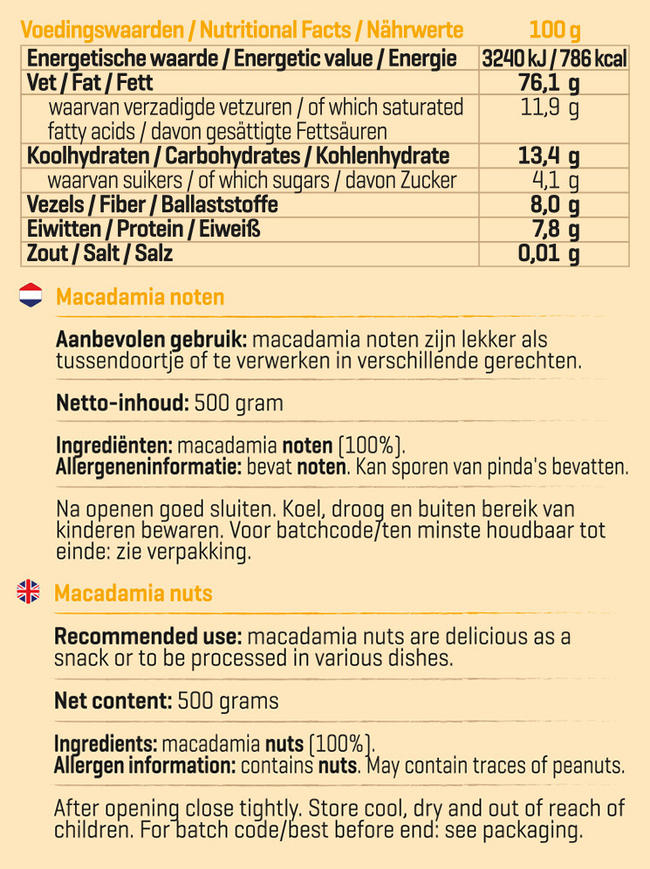 Pure Noix de macadamia Nutritional Information 1
