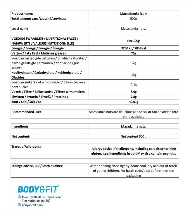 Pure Noix de macadamia Nutritional Information 4