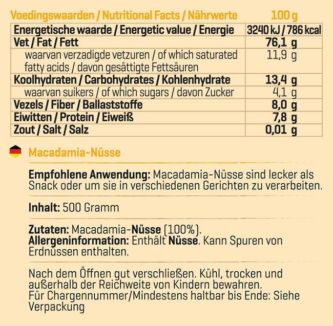 Pure Macadamianüsse Nutritional Information 1
