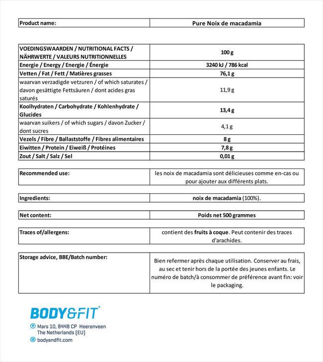 Noix de macadamia pures Nutritional Information 1