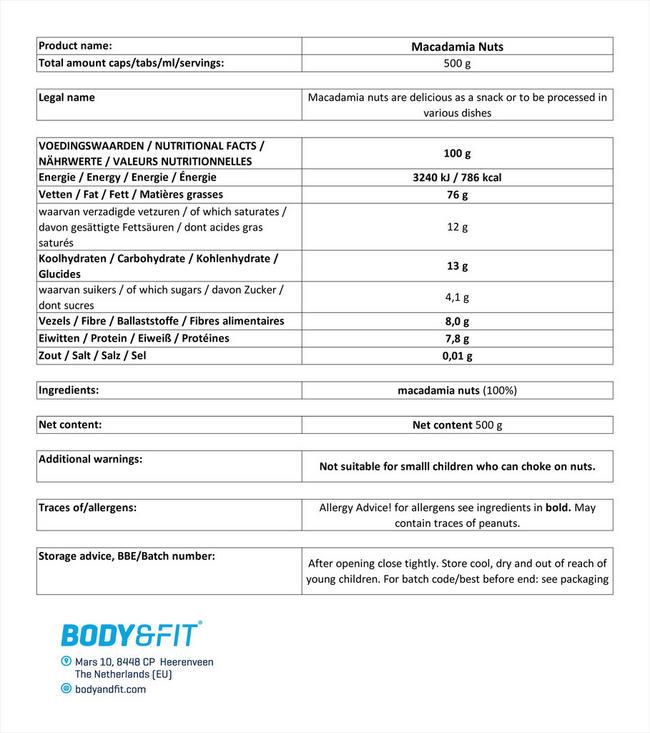 퓨어 마카다미아 견과 Nutritional Information 1