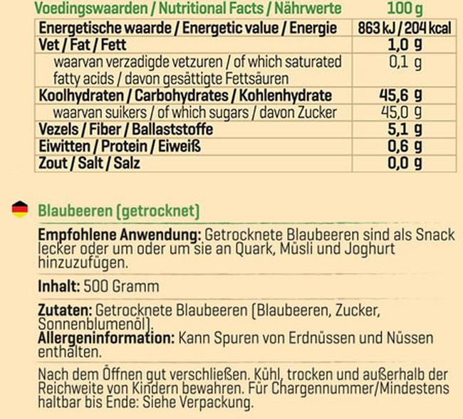 Getrocknete Blaubeeren Nutritional Information 1