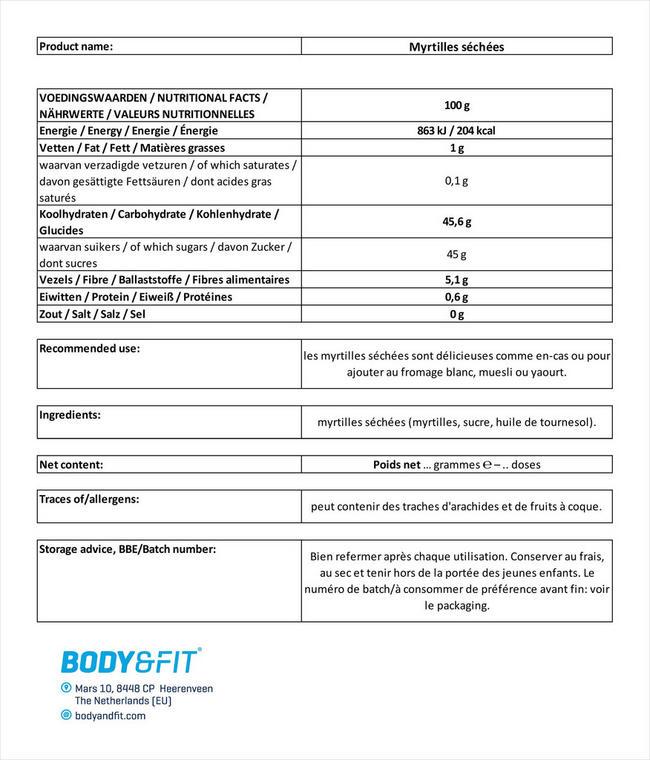 Myrtilles séchées Nutritional Information 1