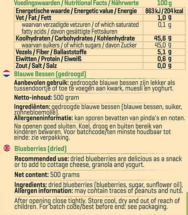 Gedroogde blauwe bessen Nutritional Information 1