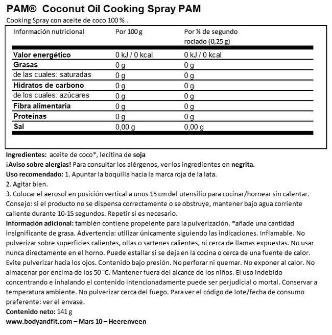 Spray De Cocinar Con Aceite De Coco Nutritional Information 1