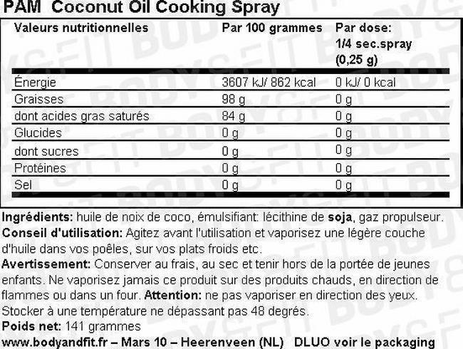 Spray Cuisson - Huile de noix de coco Nutritional Information 1