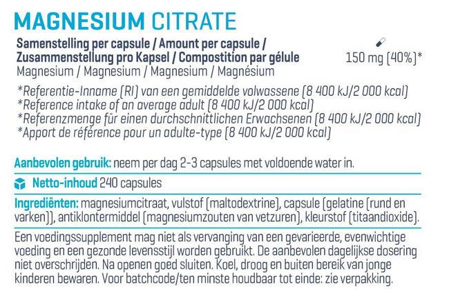 Citrate de magnésium Nutritional Information 1