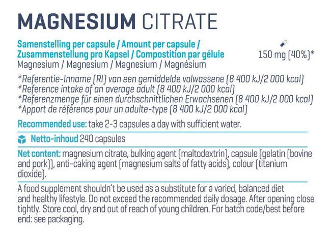 Citrate de magnésium Nutritional Information 2