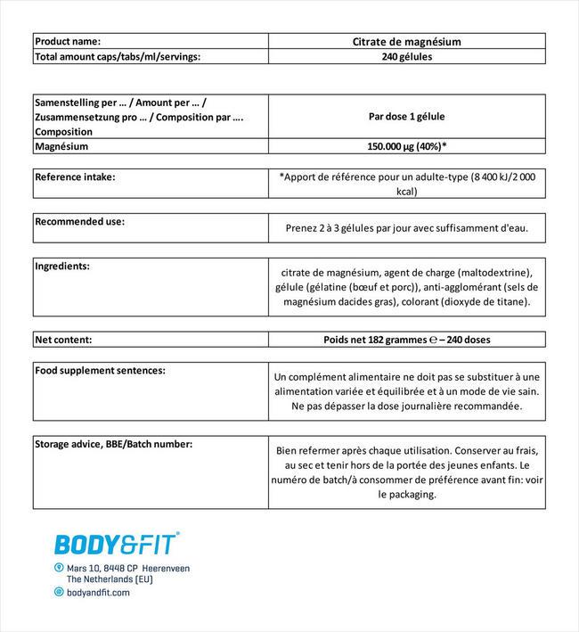 Citrate de magnésium Nutritional Information 4