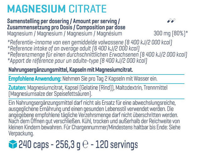 Magnesium Citrat Nutritional Information 1