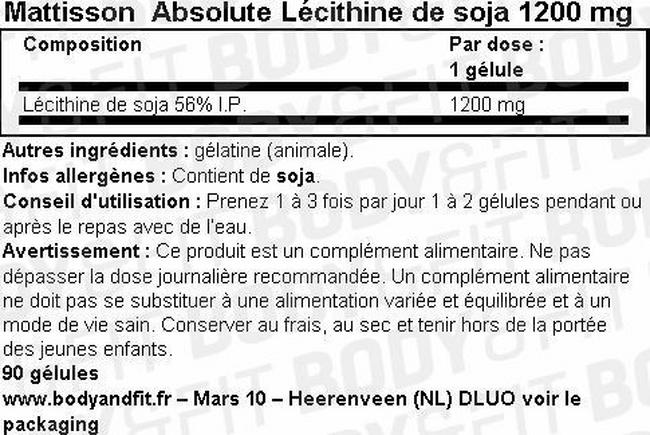 Absolute Lécithine de Soja 1200mg Nutritional Information 1