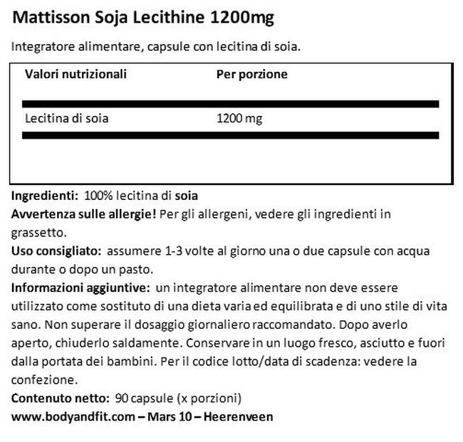 Lecitina di Soia Absolute 1200 mg Nutritional Information 1