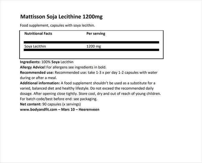アブソルート ソイレシチン 1200mg Nutritional Information 1