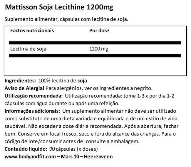 Absolute Soy Lecithin 1200 mg Nutritional Information 1