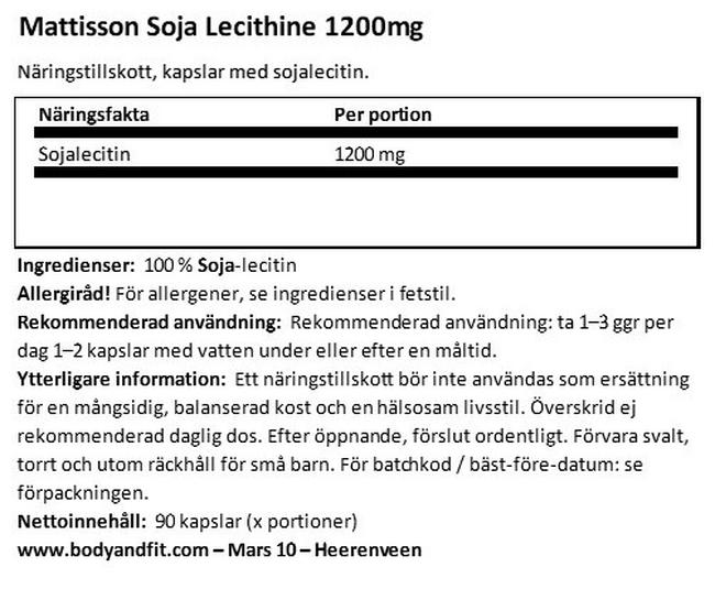 Absolute Soy Lecithin 1 200 mg Nutritional Information 1