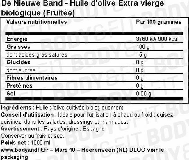 Huile d'olive extra vierge (fruitée) – emballage avantageux Nutritional Information 1