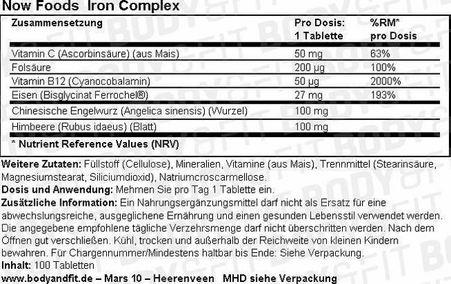 Iron Complex Nutritional Information 1