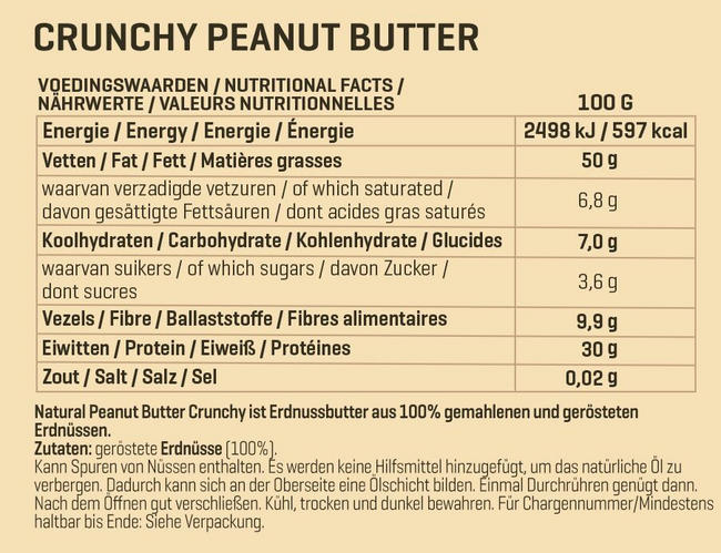 Natural Peanutbutter Crunchy Nutritional Information 1