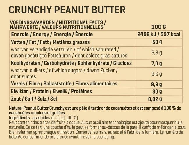 Beurre d'arachide Natural Peanut Butter Crunchy Nutritional Information 1
