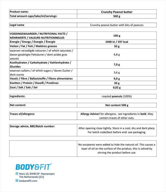 ナチュラル ピーナッツバター クランチー Nutritional Information 1