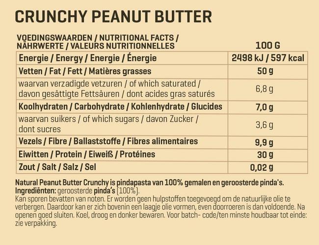 Natural Peanut Butter Crunchy Nutritional Information 1